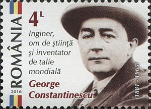 George Constantinescu - Constantinescu on a 2016 Romanian stamp