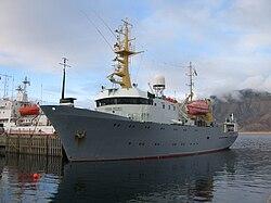 RV Håkon Mosby harboured in Longyearbyen.