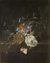 A still-life with a spray of flowers