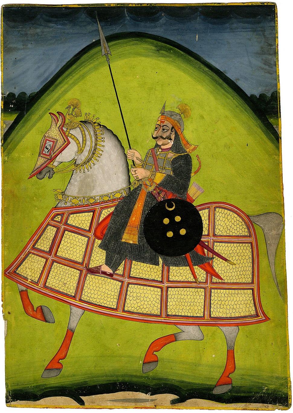 Rajput warrior on horseback, with caption in Kayathi and Nagari.