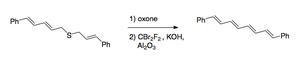 Ramberg–Bäcklund reaction - Scheme 2. Using the Ramberg–Bäcklund reaction to synthesize 1,8-diphenyl-1,3,5,7-octatetraene