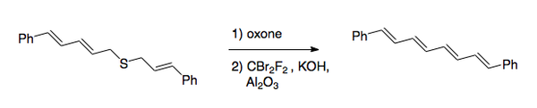 Scheme 2. Using the Ramberg–Bäcklund reaction to synthesize 1,8-diphenyl-1,3,5,7-octatetraene