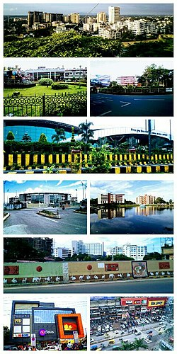 From top left to right :- Kanke , Ranchi Railway Station , Rajendra chowk , Birsa Munda Airport , JSCA International Cricket Stadium  , Line tank pond , Kadru flyover-Hotel Radisson Blu , Nucleus mall , GEL church complex .