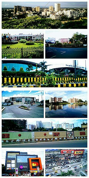 Ranchi - From top left to right :- Kanke , Ranchi Railway Station , Rajendra chowk , Birsa Munda Airport , JSCA International Cricket Stadium , Line tank pond , Kadru flyover-Hotel Radisson Blu , Nucleus mall , GEL church complex .