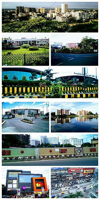 Ranchi - From top left to right :- Kanke, Ranchi Railway Station , Rajendra Chowk , Birsa Munda International Airport , JSCA International Cricket Stadium , Line tank pond , Kadru flyover-Hotel Radisson Blu , Nucleus mall , GEL church complex .