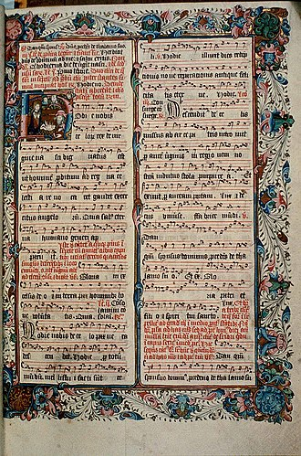 Antiphonary - Folio 22r of the Ranworth Antiphoner contains a portion of the Mass of the Nativity.  The historiated initial depicts a Nativity scene.