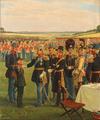 Rasmus Christiansen - Den lille hornblæser får et skulderklap af Frederik VII.png