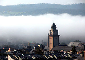 Plauen - Plauen and the city hall tower in the morning fog