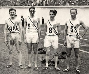 Fred Alderman - Ray Barbuti, Emerson Spencer, Fred Alderman and George Baird at the 1928 Olympics