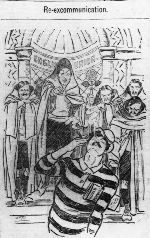 "Rugby Football Union - Re-excommunication: cartoon by J. M. Staniforth. The RFU is represented as a religious cabal, expelling Arthur ""Monkey"" Gould from their ""church"" over the ""Gould Affair"". Gould, in his Newport jersey, appears unconcerned."