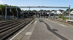 Recently-erected support structures over Newport railway station (geograph 5890288).jpg