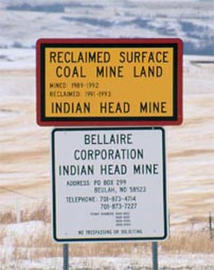 Surface Mining Control and Reclamation Act of 1977 - Sign at Indian Head Mine, near Beulah, ND. Photo: Chuck Meyers, OSM.