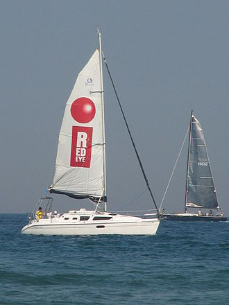RedEye - A RedEye sailboat on Labor Day 2007 viewed from North Avenue Beach