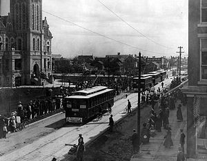 Regina Transit - Inauguration of the Regina Municipal Railway in front of the City Hall on 11th Avenue, July 28, 1911.