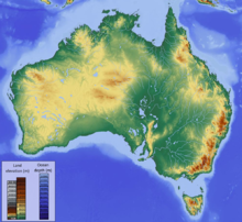 Map showing the topography of Australia, showing a some elevation in the west and very high elevation in mountains in the southeast