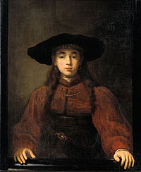 Rembrandt - A Young Woman Resting her Hands on the Picture Frame - KMSSP406.jpg