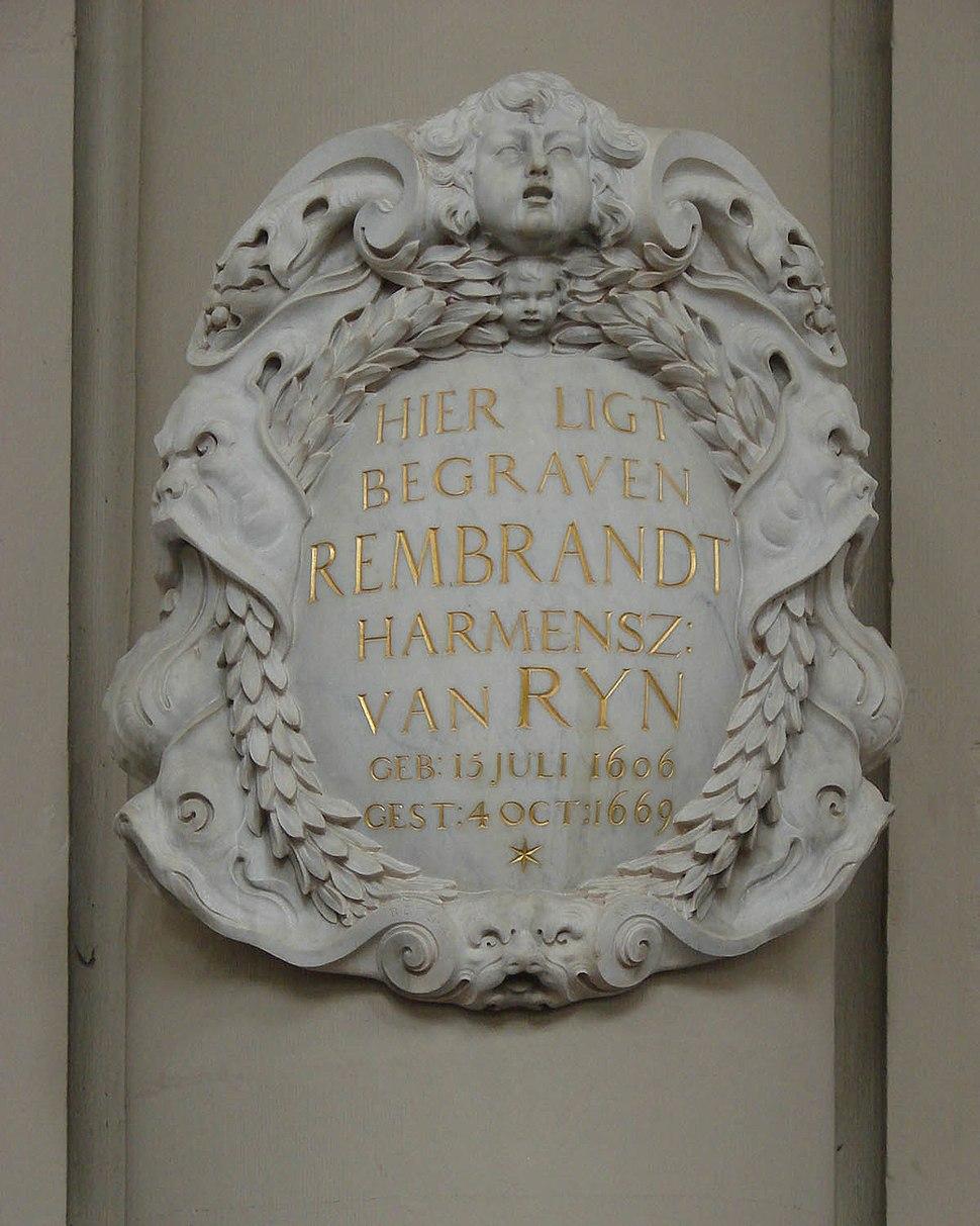 Rembrandt Memorial Marker Westerkerk Amsterdam