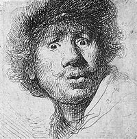 Self-portrait in a cap, with eyes wide open, etching and burin, 1630.