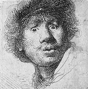 Self-portrait in a cap, with eyes wide open, e...