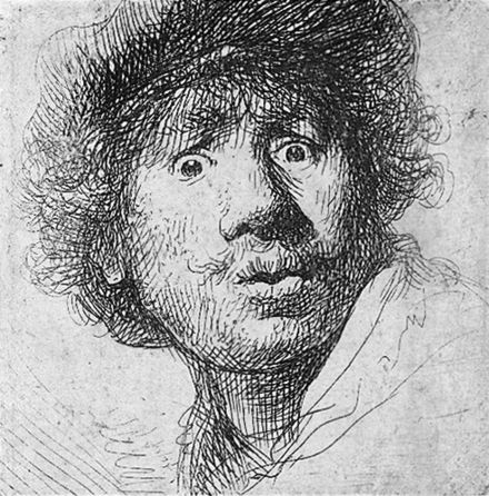 Self-portrait by Rembrandt, 1630 Rembrandt aux yeux hagards.jpg