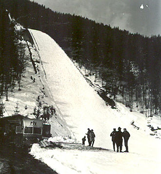 Ski flying - Bloudkova velikanka in Planica (pictured in 1963), the site of the first ever ski flying events