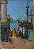 Isabel of France lands at Harwich; miniature of 1455-60 by Jean Fouquet