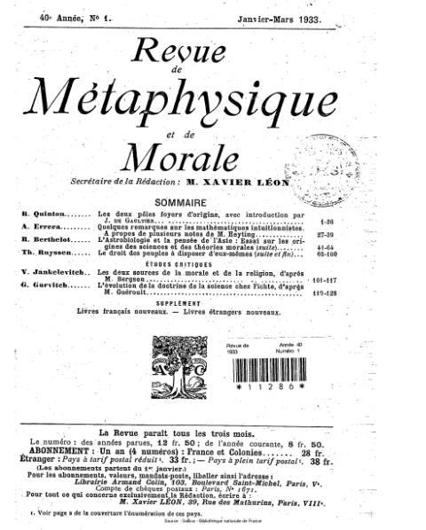 File:Revue de métaphysique et de morale, numéro 1, 1933.djvu
