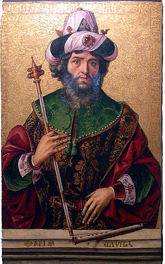 Pedro Berruguete - David, circa 1500, oil on panel, Church of Santa Eulalia, Paredes de Nava, Spain.