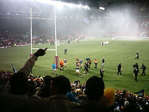 Super League - Leeds Rhinos celebrating following their 2008 Grand Final victory