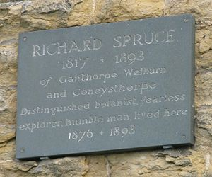 Richard Spruce - Memorial on the house in Coneysthorpe (North Yorkshire) where Spruce spent his last years