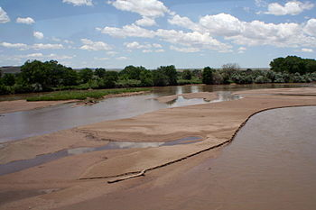 The Rio Grande River near Isleta Pueblo south ...