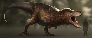 Tyrannosaurus - Life restoration of T. rex with feathers, a trait inferred by phylogenetic bracketing