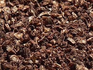 Dandelion coffee - Roasted dandelion root, ready to be used to prepare dandelion coffee.
