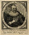 Robert Fludd. Line engraving by T. de Bry, 1645, after M. Me Wellcome V0001945.jpg