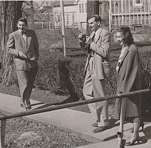 Flannery O'Connor - O'Connor with Arthur Koestler (left) and Robie Macauley on a visit to the Amana Colonies in 1947