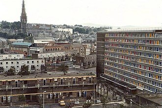 Bloody Sunday (1972) - The Bogside in 1981, overlooking the area where many of the victims were shot. On the right of the picture is the south side of Rossville Flats, and in the middle distance is Glenfada Park.