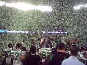 Saskatchewan Roughriders - The Roughriders celebrate their 2007 Grey Cup victory