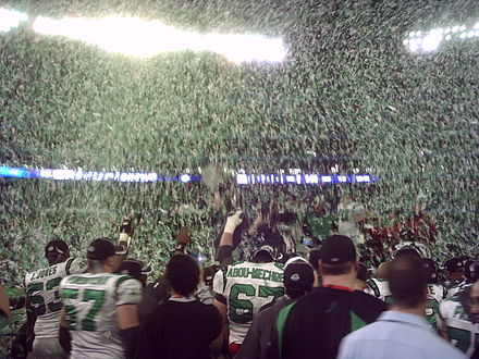 The Saskatchewan Roughriders celebrate their 2007 Grey Cup victory in Toronto. Roughriders win3.jpg