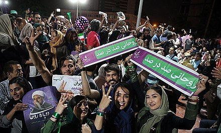 Rouhani's supporters celebrate his presidential victory on the streets of Tehran Rouhani re-election celebrations in Tehran 3.jpg