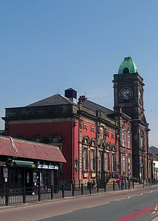 Royton Town Hall The Half Sized Clock Face On Eastern Facade Is Said To Have Been A Result Of Civic Rivalry With Neighbouring Shaw And Crompton