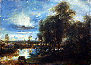 Antoine Seilern - Peter Paul Rubens, Landscape by Moonlight, oil on panel 1635–1640, 64 x 90 cm; now in the Courtauld Gallery