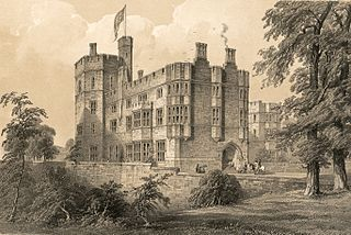 Ruthin Castle, Denbighshire: south west view of buildings recently erected