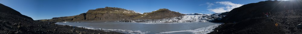 Panorama of Sólheimajökull glacial tongue and the valley leading to it
