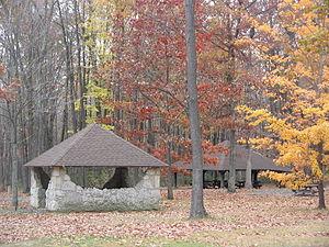 S. B. Elliott State Park - CCC-built stone pumphouse and picnic pavilion at S. B. Elliott State Park
