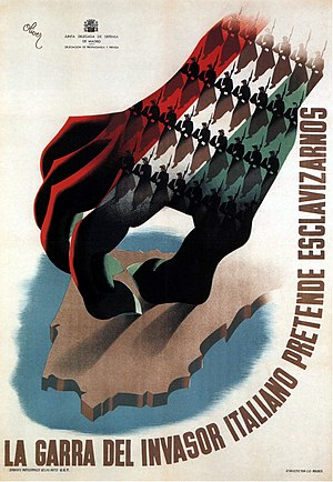 "Foreign involvement in the Spanish Civil War - Republican propaganda poster, reading ""The claw of the Italian invader intends to enslave us."""