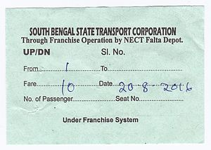 South Bengal State Transport Corporation - SBSTC bus ticket sample