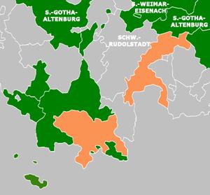 Saxe-Coburg-Saalfeld - Duchy of Saxe-Coburg-Saalfeld, in orange, in 1820