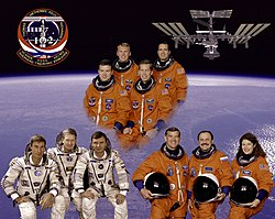 Crew of the space shuttle mission STS-102 (top), the crew of ISS expedition 1 (bottom left) and the crew of ISS expedition 2 (bottom right).