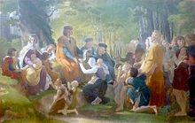 Tableau de style néo-classique représentant Louis IX assis sous un chêne au milieu de suppliants.