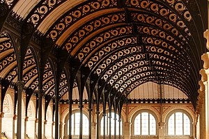 Cast-iron architecture - Cast iron supporting structure, ceiling of the reading room of the Bibliothèque Sainte-Geneviève, Paris.